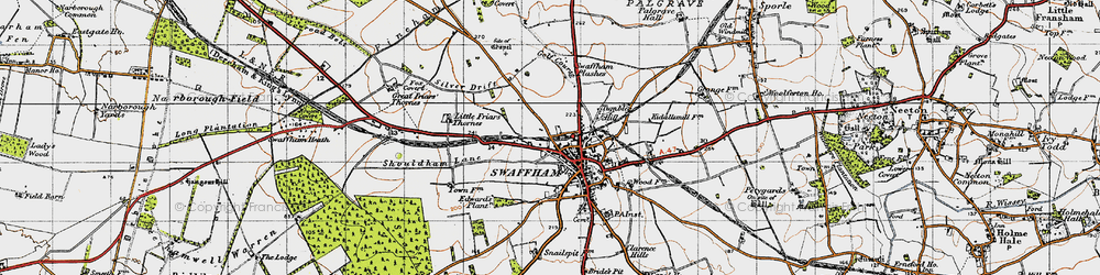 Old map of Swaffham in 1946