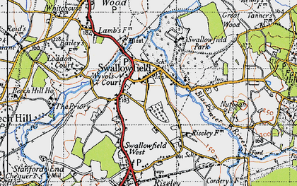 Old map of Wyvols Court in 1940