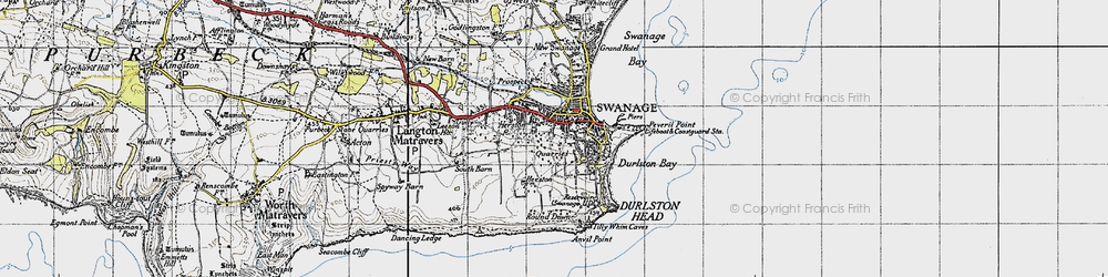 Old map of Tilly Whim Caves in 1940