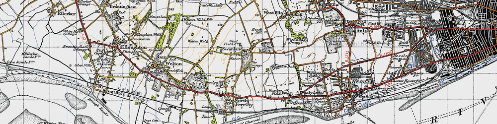 Old map of Swanland in 1947