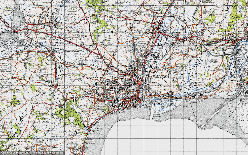 Old Map of Swansea, 1947 in 1947