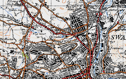 Old map of Swansea in 1947