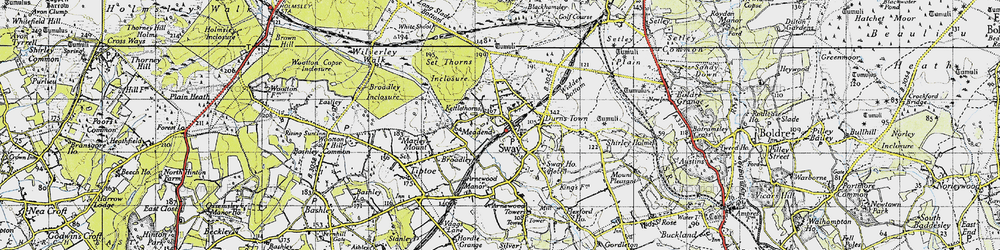 Old map of Sway in 1940