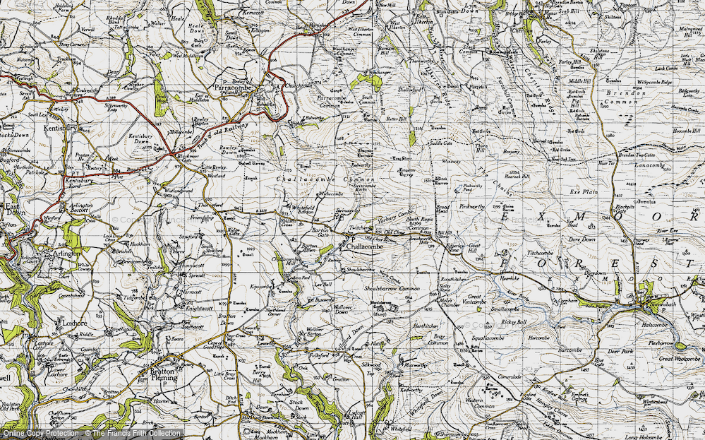 Old Map of Historic Map covering Wood Barrow in 1946