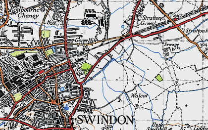 Old map of Swindon in 1947