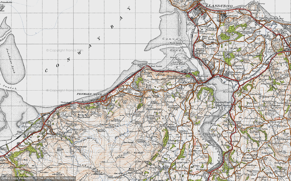 Old Map of Historic Map covering Alltwen in 1947