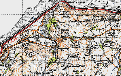 Old map of Sychnant Pass in 1947