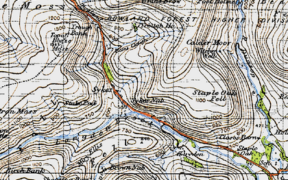 Old map of Trough of Bowland in 1947