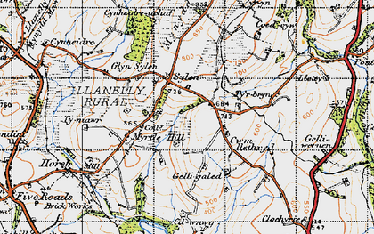 Old map of Ystradfai in 1947