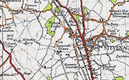 Old map of Symonds Green in 1946