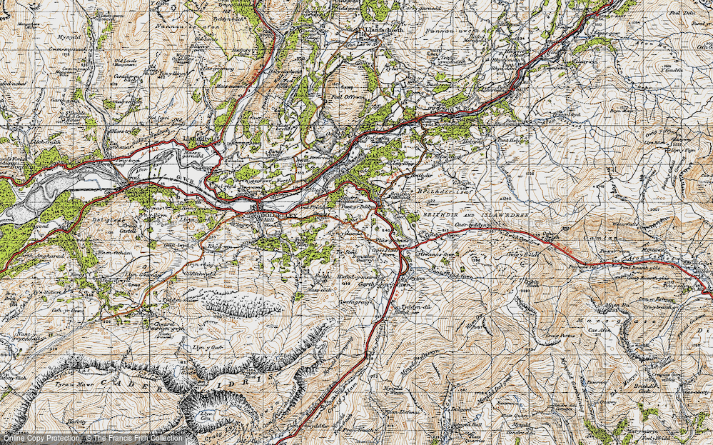 Old Map of Historic Map covering Afon Clywedog in 1947