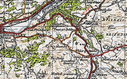 Old map of Afon Clywedog in 1947