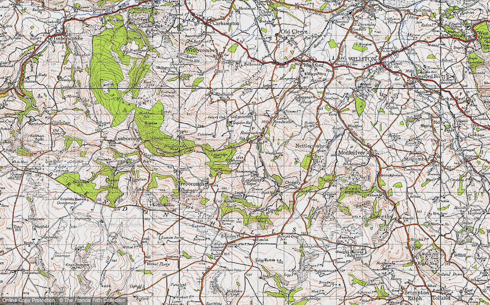 Old Map of Historic Map covering Langridge Wood in 1946