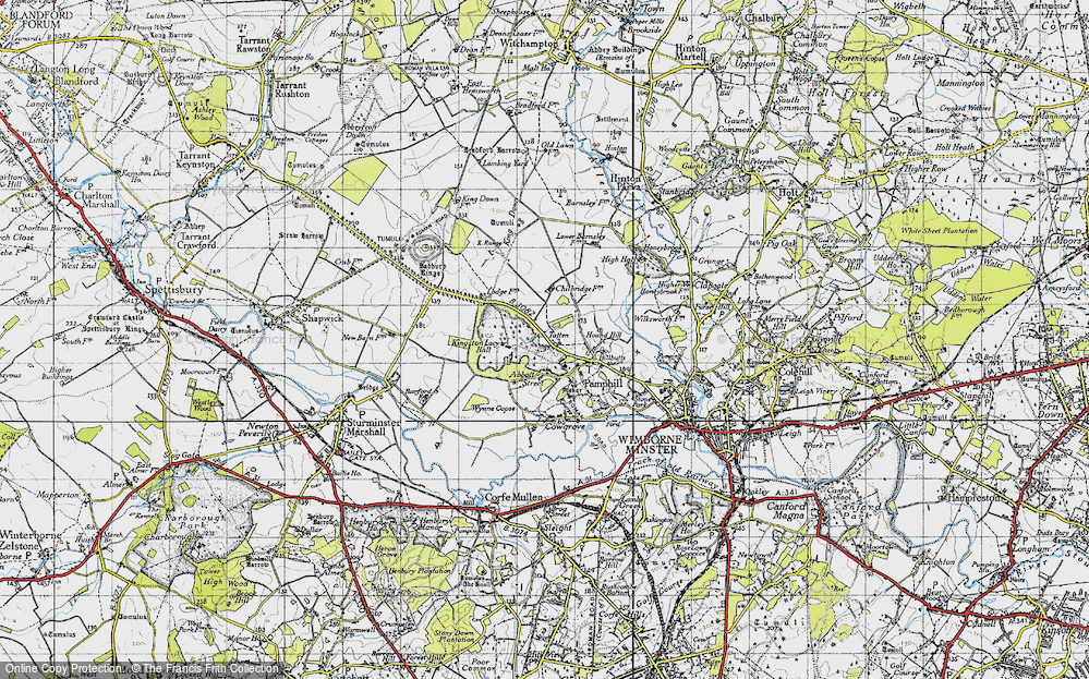 Old Map of Historic Map covering Badbury Rings in 1940
