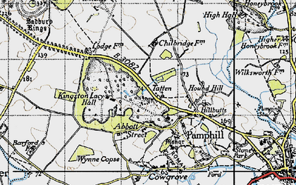 Old map of Badbury Rings in 1940