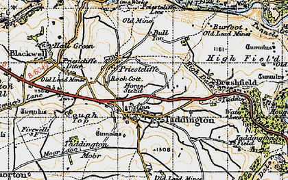 Old map of Taddington in 1947