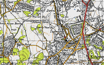 Old map of Tadworth in 1945