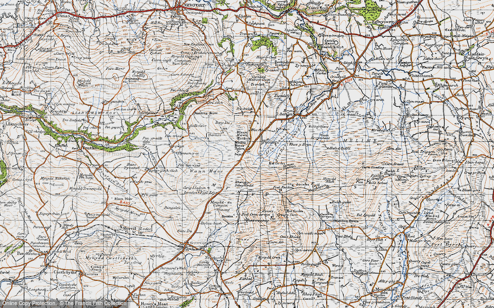 Old Map of Historic Map covering Afon Pennant in 1946