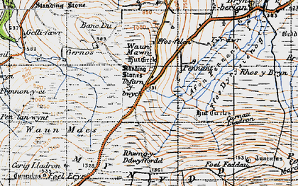 Old map of Afon Pennant in 1946