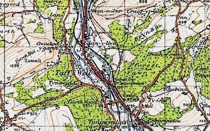 Old map of Taffs Well in 1947