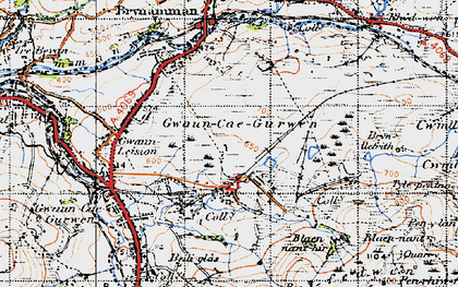 Old map of Tairgwaith in 1947