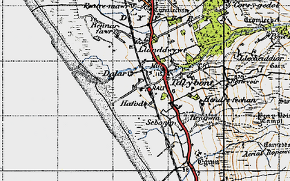 Old map of Tal-y-bont in 1947