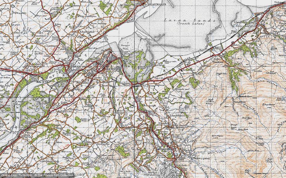 Old Map of Historic Map covering Aber-Ogwen in 1947