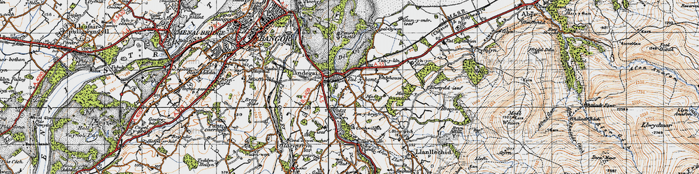 Old map of Aber-Ogwen in 1947