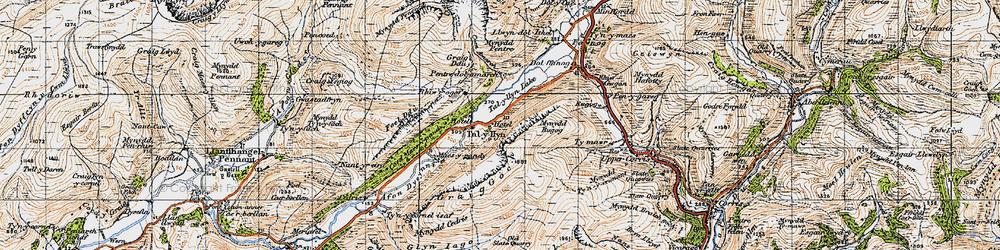 Old map of Tal-y-llyn in 1947