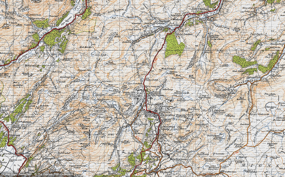 Old Map of Historic Map covering Afon Barlwyd in 1947