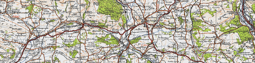 Old map of Talbot Green in 1947