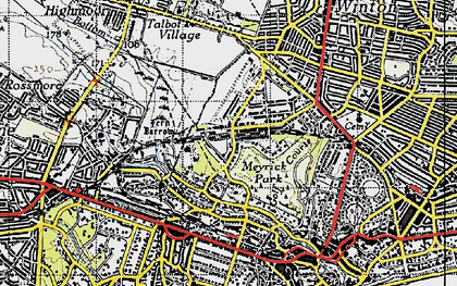 Old map of Talbot Woods in 1940