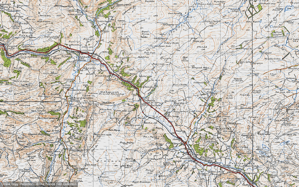 Old Map of Historic Map covering Afon Tyn-y-rhos in 1947