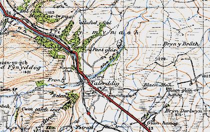 Old map of Afon Tyn-y-rhos in 1947