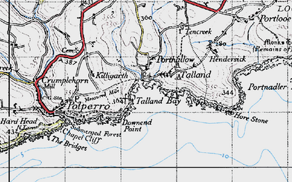 Old map of Talland Bay in 1946