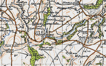 Old map of Afon-fach-Pontgarreg in 1946