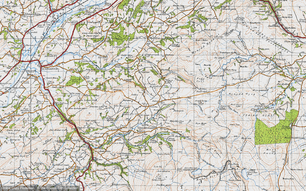 Old Map of Historic Map covering Afon Llechach in 1947