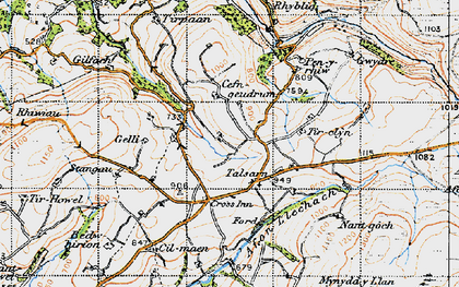 Old map of Afon Llechach in 1947