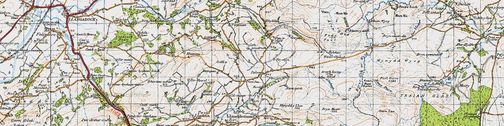 Old map of Tirpaun in 1947