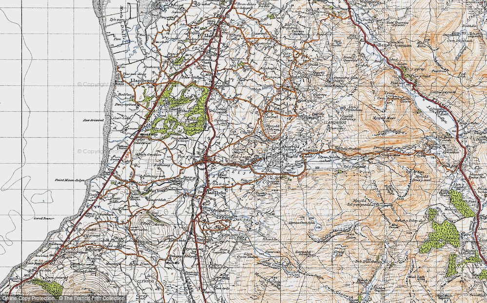 Old Map of Historic Map covering Afon Llyfni in 1947