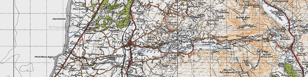 Old map of Afon Llyfni in 1947