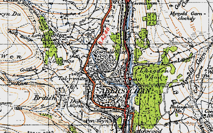 Old map of Talywain in 1947