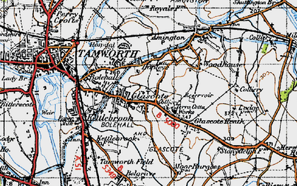 Old map of Tamworth in 1946