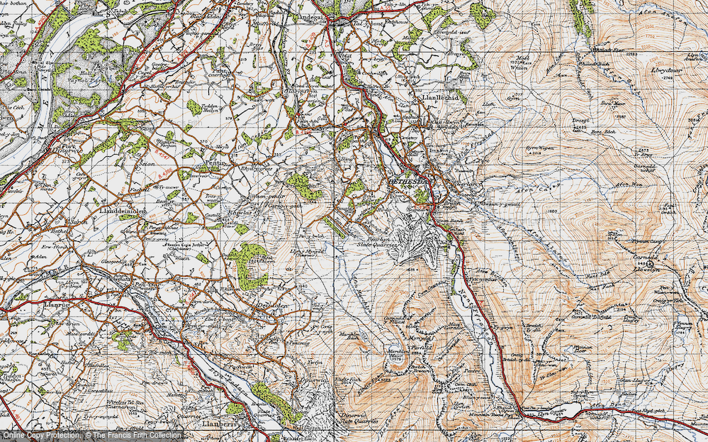 Old Map of Historic Map covering Afon Marchlyn-mawr in 1947