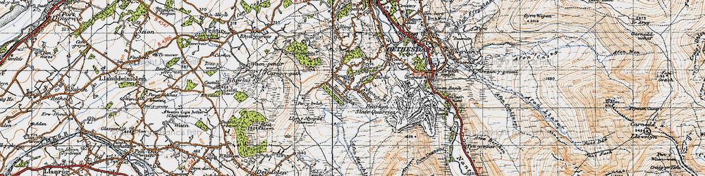 Old map of Afon Marchlyn-mawr in 1947