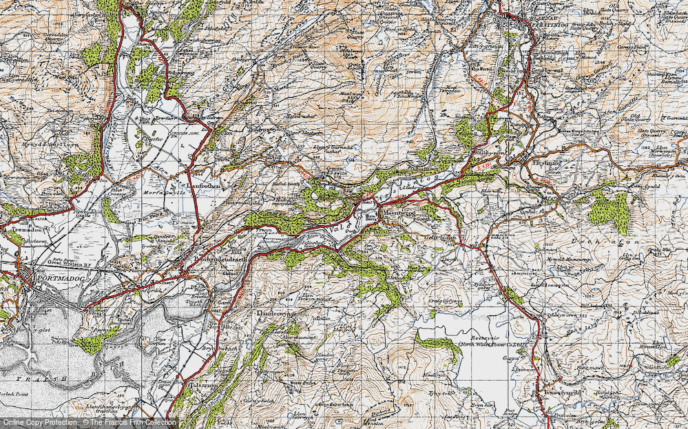 Old Map of Historic Map covering Afon Dwyryd in 1947