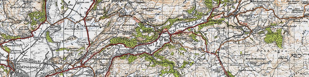Old map of Tan-y-Bwlch in 1947