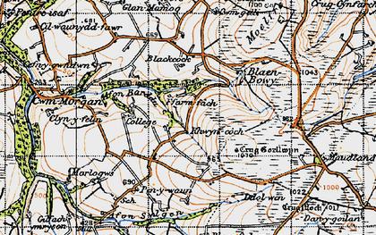 Old map of Afon Barddu in 1947