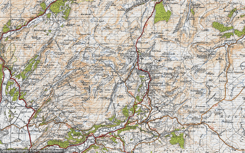 Old Map of Historic Map covering Afon Stwlan in 1947