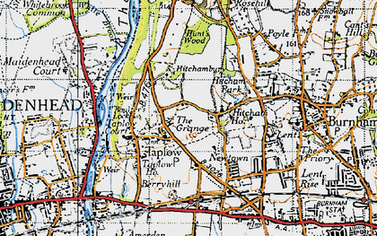 Old map of Taplow in 1945
